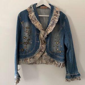 JS LH lagenlook studded beaded ruffle Jean jacket